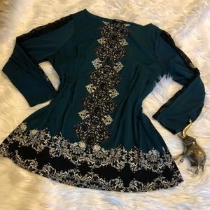Gorgeous 1X Green Embellished Blouse Style & Co